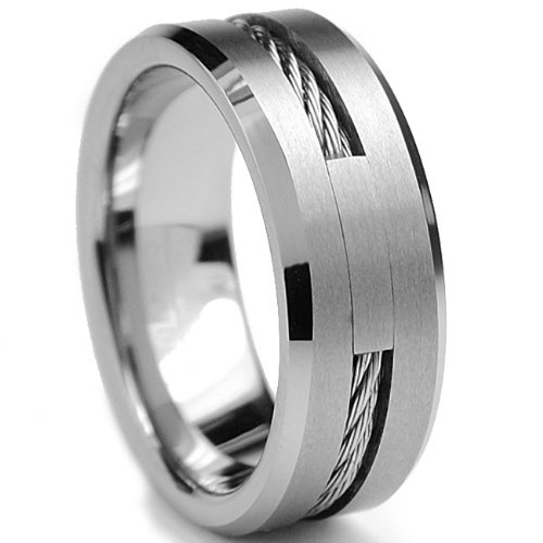 8MM Tungsten Carbide Wedding Band Ring With Stainless Steel Cable Inlay Size 10
