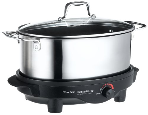 Digital Slow Cookers: West Bend 84866 6QT Versatility Slow Cooker Stainless Steel finish