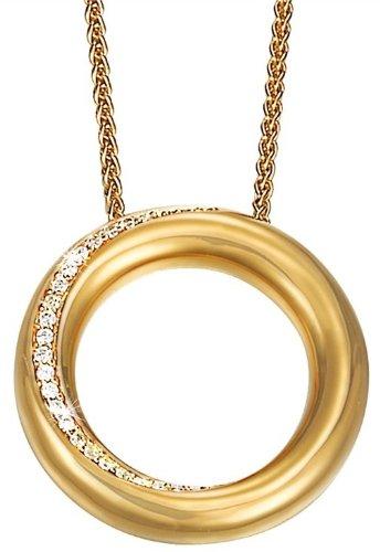 Esprit International Damen Halskette 925 Sterling Silber rhodiniert Kristall Zirkonia Peribess Gold 42 cm weiß ELNL91626C420