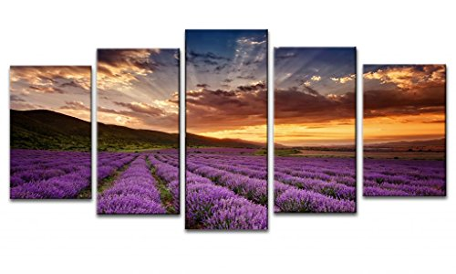 Wieco Art - Canvas Print Giclee Artwork for Wall Decor, Stretched and Framed Art Work, Provence Lavender - 5 Panels Modern Paintings Canvas Wall Art for Home and Office Decoration Landscape Picture Prints on Canvas Art P5RLA003 Size A