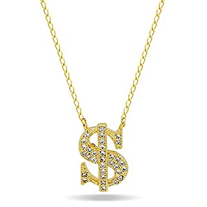 stylish gold tone dollar necklace tiny dollar