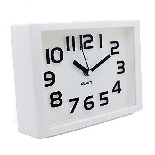 JCC Decorative Colorful Rectangle Quartz Analog Silent non ticking sweep second hands Bedside Desk alarm clock (White)