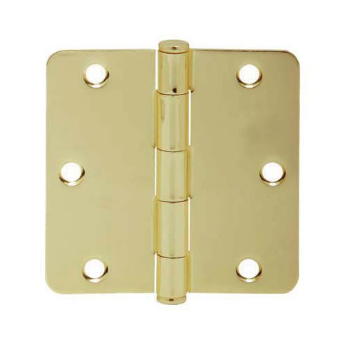 "Schlage 1012 3.5"" X 3.5"" Plain Bearing 1/4"" Radius Corner Mortise Hinge - Three, Polished Brass"