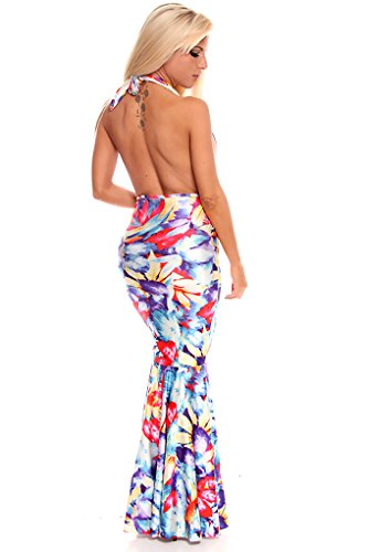 Lolli Couture Floral Sexy Low Cut Neckline Open Back Long Maxi Dress Multi/Floral L front-504547