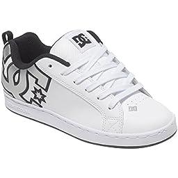 DC Women\'s Court Graffik Skate Shoe, White/M Silver, 8 M US