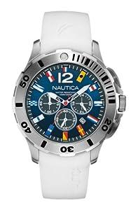 Nautica A18638G - Reloj cronógrafo de cuarzo para hombre, correa de silicona color blanco