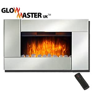 Stafford Large Widescreen Wall Mounted Electric Living Flame Mirror Glass Fire Fireplace Amazon