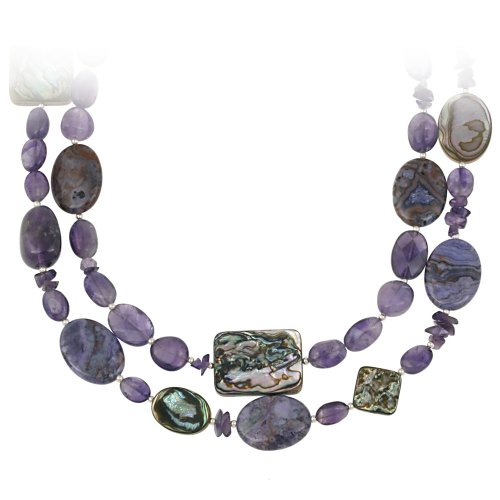 Sterling Silver Bead, Amethyst, Abalone and Purple Crazy Lace Agate 2-Row Necklace, 16+3