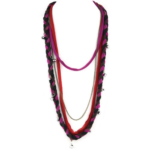Soft Braided Fabric Layered Necklace - Crystal Cut Shimmery Beads - Brass Chain Link - Black Brwon Fuschia & Red