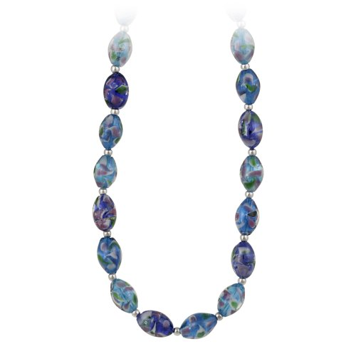 Sterling Silver and Multi-Blue Glass Oval Bead Necklace, 19