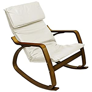 Stockholm Bentwood Rocking Chair Walnut Finish Upholstered Cu