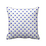 Blue And White Polka Dot's Pattern Cushion Cover - B00WR3X6C2