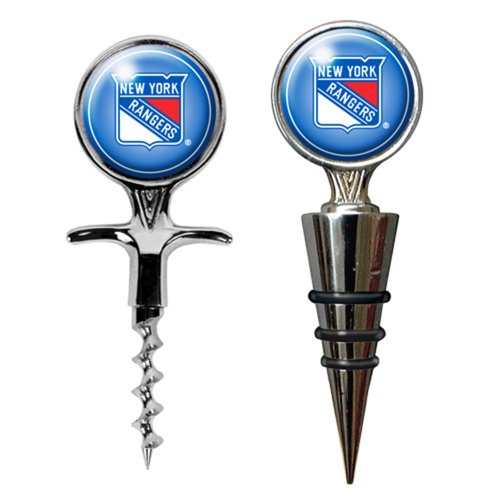 NHL New York Rangers Cork Screw and Wine Bottle Topper Set (Ny Rangers Wine Glass compare prices)