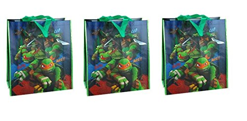 "TMNT Ninja Turtle Large Tote Bag Party Bag 16"" x 3 bags"