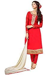 red colour cotton material Salwar Kameez straight suit