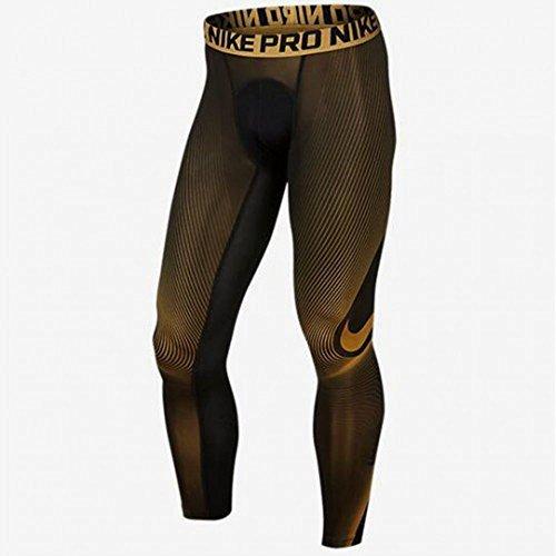Men's Nike Pro Cool Compression Tights Black/Gold 724347-010 (XXL)