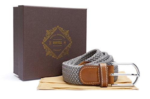 Martell Intl.-Cintura da uomo in tessuto elasticizzato, parte della collezione 'Premium' (include Borsa protettiva di cintura e presentazione regalo scatola), Uomo, Grey, 28-36