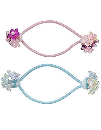 Monsoon Filles 2élastiques ornés de fleurs avec une perle en 3D au milieu Taille Taille unique Multicolore