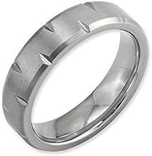 Bridal Titanium Beveled Edge Notched 6mm Brushed Band