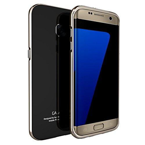 贅沢耐衝撃Galaxy s7 edgeアルミバンパー ガラスプレート付き Galaxy s7 edgeエッジアルミケース全面保護新登場 (Galaxy s7 edge, ブラックXゴールド)
