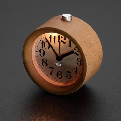 ECVISION Handmade Classic Small Round Silent table Snooze beech Wood Alarm Clock with nightlight (Small Battery Clocks compare prices)