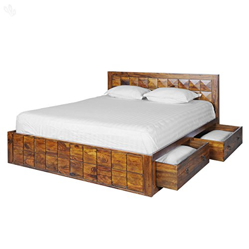 Royal Oak Sapphire BD20151001-5S Queen Size Bed with Storage (Honey Brown)
