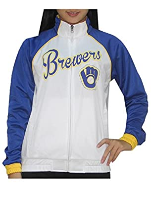 MLB MILWAUKEE BREWERS Womens Zip-Up Warm Glitter Track Jacket