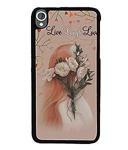 Fuson Premium Live Laugh Love Metal Printed with Hard Plastic Back Case Cover for HTC Desire 820