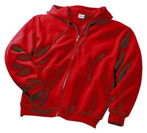 Gildan Men's Pouch Pocket Full-Zip Hood, XXX-Large, Red