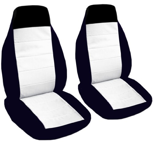 Custom Fit 2 Black And White Car Seat Covers For A 2002