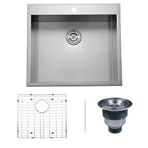 Ruvati rvh8010 overmount 25 single bowl 16 gauge kitchen - Kitchen sink clips extra long ...