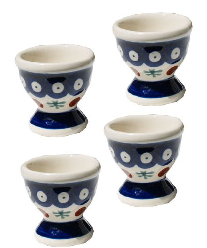 Polish Pottery Egg Cup Set Of 4 From Zaklady Ceramiczne Boleslawiec #203-41 Nature Pattern