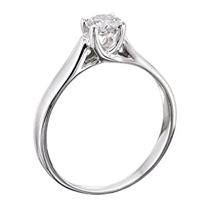 GIA Certified 14k white-gold Round Cut Diamond Engagement Ring (0.36 cttw, H Color, VVS2 Clarity)