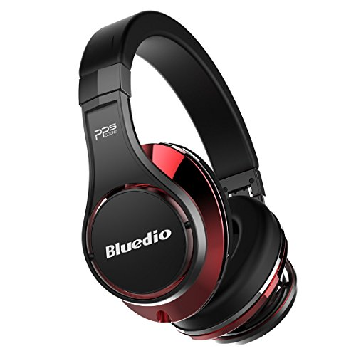 Bluedio U (UFO) Faith series High-End Bluetooth headphones Revolution Patented 8 Tracks /3D Sound Effect /Aluminum alloy build/Hi-Fi Rank wireless&wired Over-Ear headphones/headset with carrying hard case Gift-package (Black and Red)