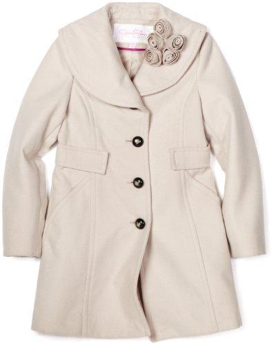 Jessica Simpson Coats Girls 7-16 Rosette Collar Coat, Sand, Medium