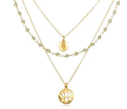 "Satya Jewelry ""Thrive Peridot"" 24k Yellow Gold Necklace, 18"""