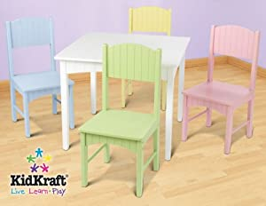 Amazon Com Kidkraft Nantucket Table Amp 4 Pastel Chairs