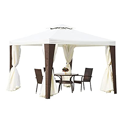 Outsunny Rattan Furniture 3m x 3m Metal Gazebo Marquee Party Tent Canopy Pavillion Patio Garden Shelter w/ Nets and Sidewalls