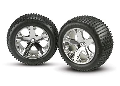 "Traxxas 3770 Alias 2.8"" Pin Tires Assembled on All-Star Mirror-Chrome Wheels"