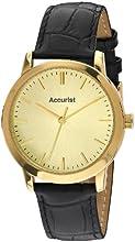Comprar Accurist MS671G - Reloj analógico de cuarzo para hombre con correa de piel, color negro