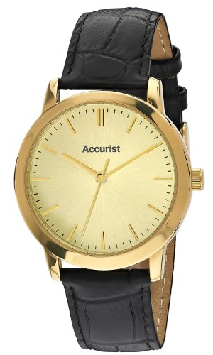 Accurist Men's Quartz Watch with Gold Dial Analogue Display and Black Leather Strap MS671G