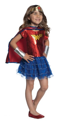 Wonder Woman Girls 4-6 Costume Tutu Dress Set, Blue/Red