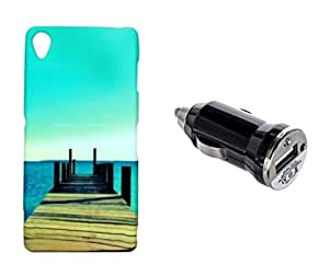 ZOOP Premium High Quality Rubberized Protective Printed Case Cover for Sony Xperia Z3 -Nature's Scenic Beauty (Air And Sea) With Car Charger