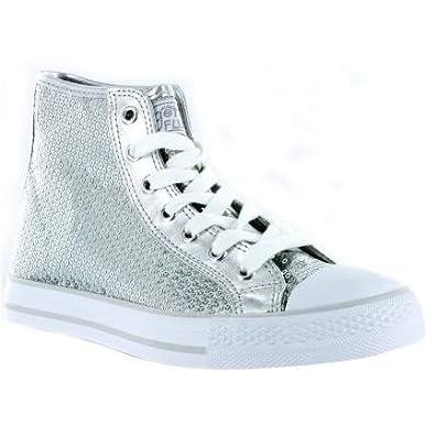 Gotta Flurt HI-Disco Silver sequin sneakers Size 5.5B