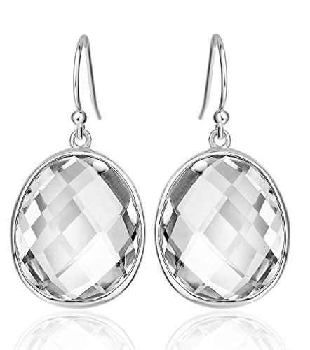 Elda & Co. Sterling Silver Teardrop White Quartz Dangle Earrings Gemstones Fine Jewelry Christmas gifts for Women 1125 (Clear Quartz Crystal Earrings compare prices)