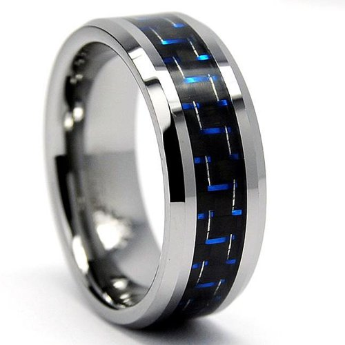 8mm Men's Pure Tungsten Carbide Wedding Band and Engagement Ring with Blue & Black Carbon Fiber Inlay