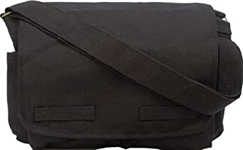 Black Classic Army Messenger Heavy Weight Shoulder Bag