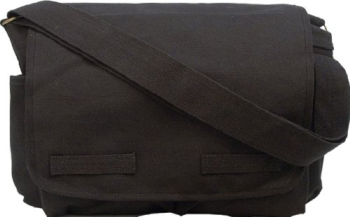Black Classic Army Messenger Heavy Weight Shoulder Bag 14