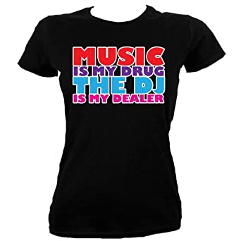 Black Skinny Fit Extra Large (UK 14 - 16) Music Is My Drug, The Dj Is My Dealer Ladies T-shirt