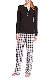 Pure Cotton Henley Neck Checked Pyjamas [T37-9208-S]